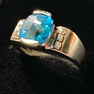 Swiss Blue Topaz and Diamond Silver Ring
